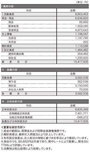 2010年度貸借対照表