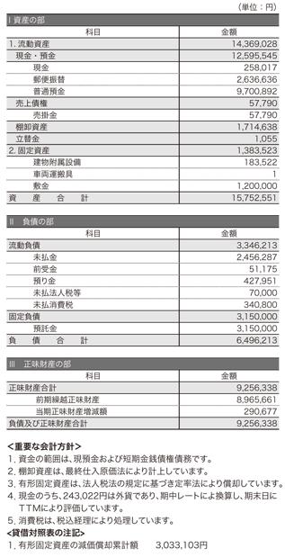 2012年度 貸借対照表