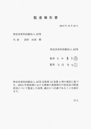 ACE 2013年度(前期)監査報告書