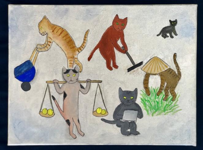 新作絵画「猫が働くのは良いけれど…」