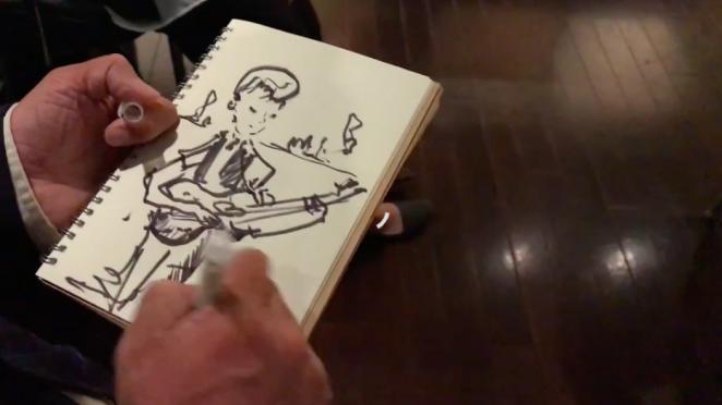 Usatoさんが描いたギタリスト関根さんの似顔絵