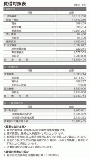 2011年度貸借対照表