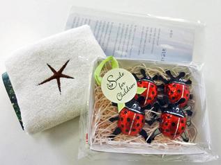 オーガニックコットンハンカチ&てんとう虫チョコ(4個入)&ポストカード