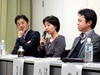 質問に答えるフェアトレード・ラベル・ジャパンの中島さん