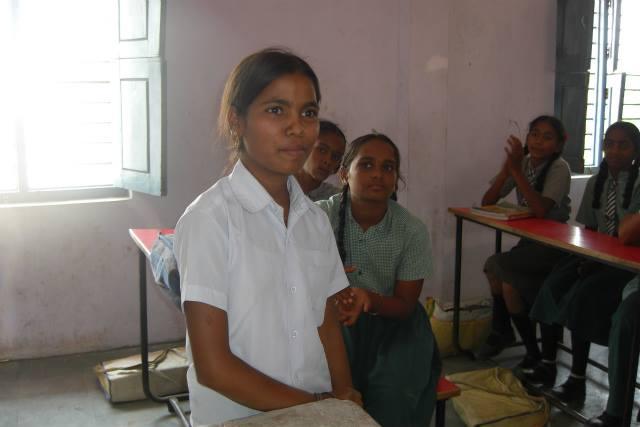 2014年4月、村の公立学校で話してくれたラクシュミちゃん