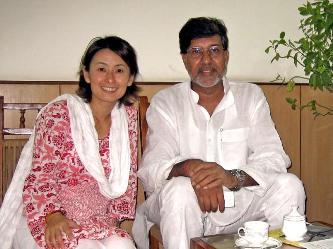 2008年インド・ニューデリーでカイラシュ・サティヤルティさんと