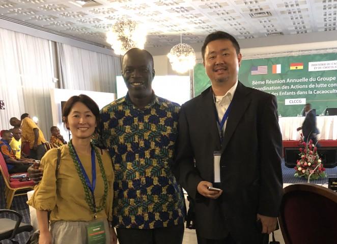 会議に出席していたガーナの雇用労働大臣と。