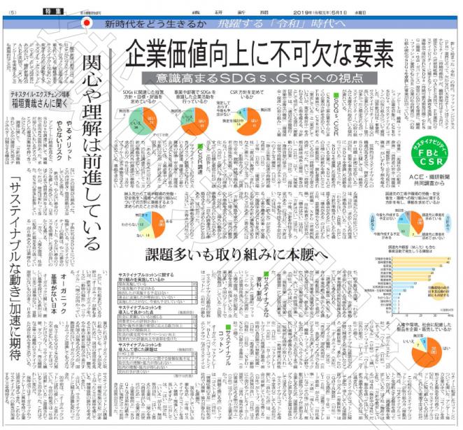 繊研新聞 2019年5月1日付
